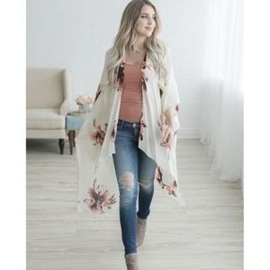 Tops - LAST ONE! Cream and Floral Cover Up/Wrap
